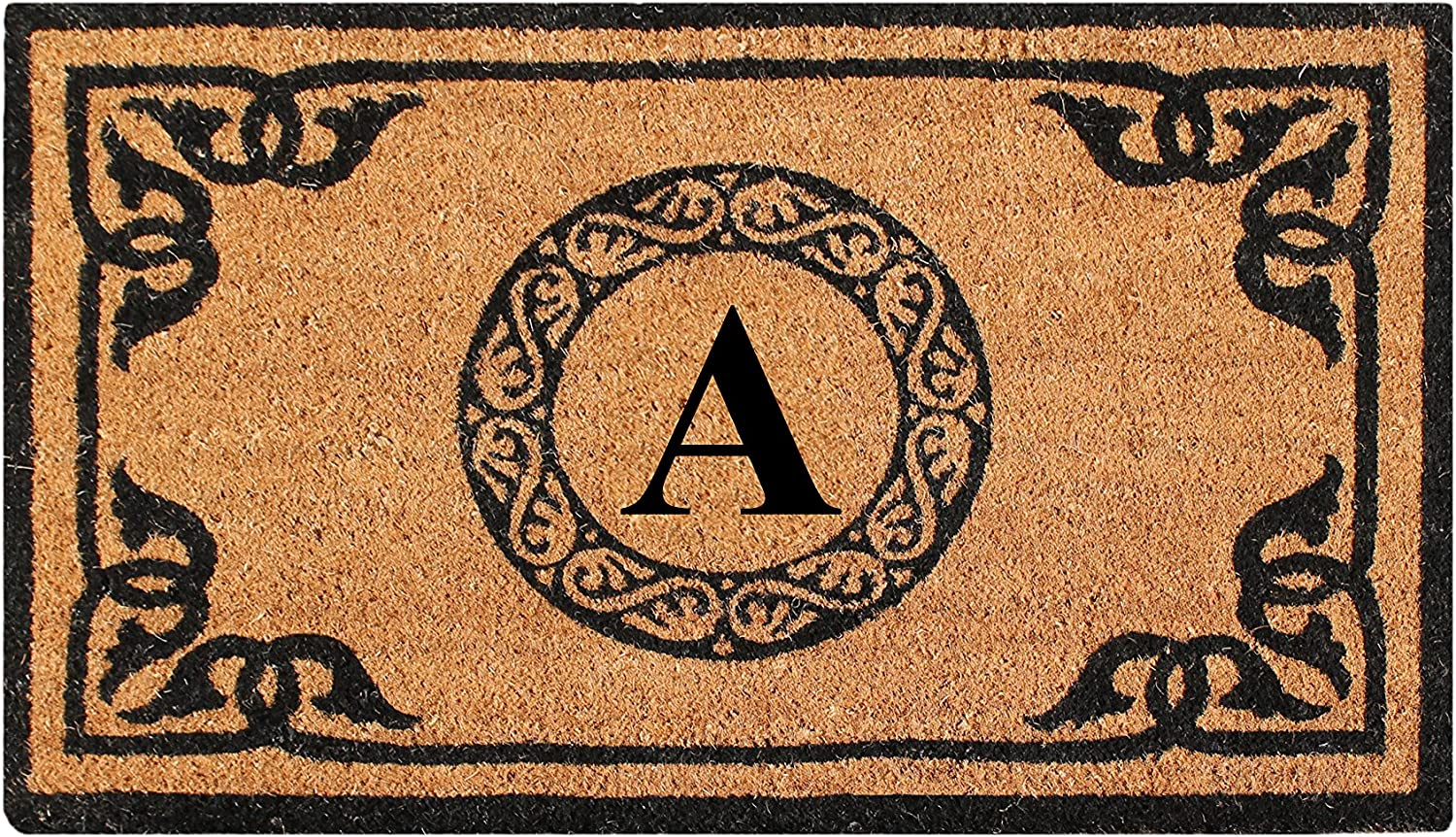 A1 HOME COLLECTIONS PT3006A First Impression Hand Crafted by Artisans Geneva Monogrammed Entry Doormat, 24 X39