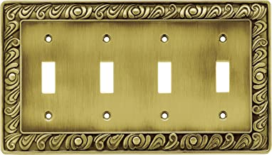Franklin Brass 64043 Paisley Quad Toggle Switch Wall Plate/Switch Plate/Cover, Tumbled Antique Brass