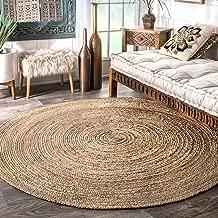 Fernish Decor Handwoven Jute Round Rug, Natural Fibres, Braided Reversible Carpet for Bedroom Living Room Dining Room (120 cm Dia, Round)