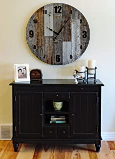 """Extra Large 36-inch """"Papa Bear"""" Reclaimed Wood Wall Clock. Oversize Giant Wooden Farmhouse Clock with Natural Brown and Grey Weathered Barn Wood."""