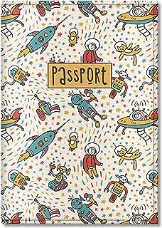 Cute Passport Cover for Children, by Govinda Crafts, Eco Leather Passport Holder (Cat Robot Rocket Pattern)