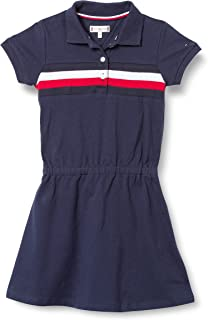 Tommy Hilfiger Girl's Pique Polo S/S Dress, Color:Twilight Navy, Size:8