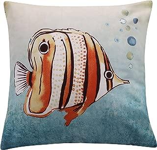 Lyra Reef Printed Fish Pillow, Blue, Orange, Coastal