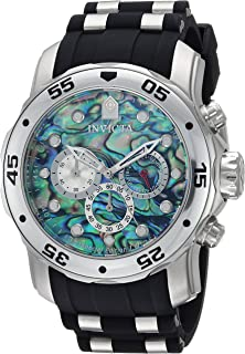 Men's Pro Diver Stainless Steel Quartz Watch with Polyurethane Strap, Black, 26 (Model: 24838)