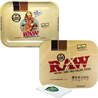 RAW Large Rolling Tray with Magnetic Rolling Tray Cover and Leaf Lock Gear Smell Proof Pouch