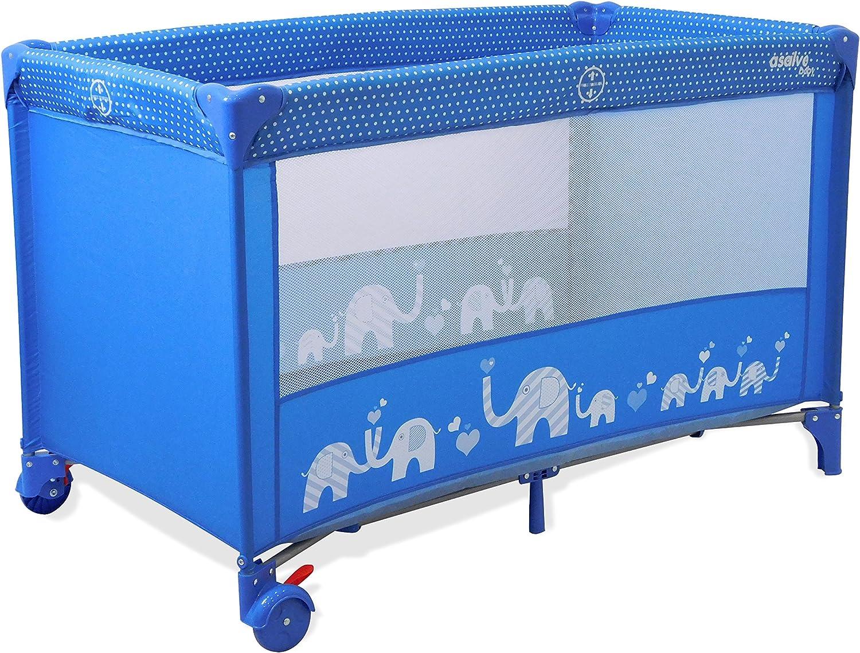 Asalvo 15372 Travel Cot Baleares Elephants bluee, MultiColour
