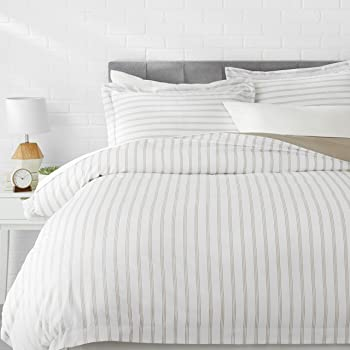 AmazonBasics Microfiber 3-Piece Quilt/Duvet/Comforter Cover Set - Queen, Grey Stripe - with 2 pillow covers