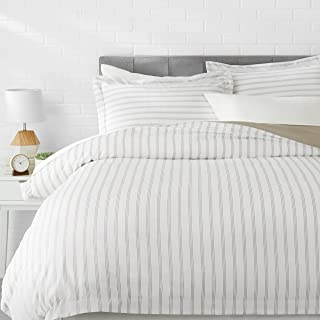 AmazonBasics Microfiber 3-Piece Quilt/Duvet/Comforter Cover Set - Queen, Grey Stripe - with 2 pillow covers