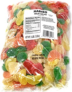 Haribos Fruit Salad Gummy Candy | Easter Assorted Fruit Flavor Include Lime, Grapefruit, Orange, Cherry, Passion fruit, and Lemon | Fruit Chews Sour Gummies - 5 lb Bag