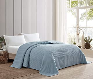 Beatrice Home Fashions Channel Chenille Bedspread, Queen, Blue