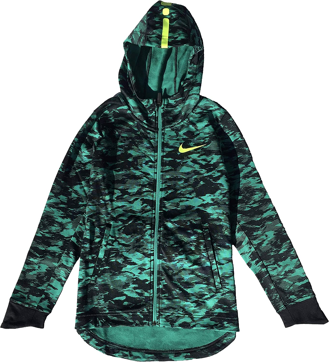 NIKE Boy's Therma Elite Basketball Hoodie Neptune Green Volt Size X-Large