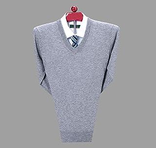 富贵鸟羊毛衫男V领加厚保暖中年男士毛衣套头衫长袖纯色鸡心领针织打底衫秋冬新款