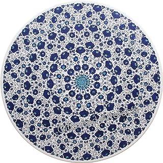 Gifts And Artefacts Table de salle à manger ronde en marbre avec pierres semi-précieuses lapis lazuli 183 cm