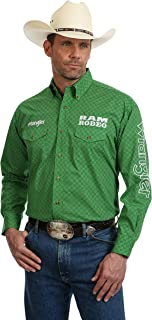 Ram Logo Long Sleeve Button Down Shirt, Green