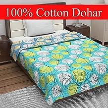 Divine Casa 100% Cotton ReversibleBlanket/Duvet Easyweight, AC Single DOHAR, Abstract- Blue