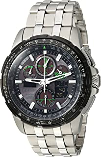 Citizen Men's 'Eco-Drive' Quartz Stainless Steel Aviator Watch, Color:Silver-Toned (Model: JY8051-59E)