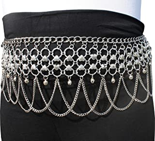 Svenine Heavy Silver Plated Pewter Belly Dance Belt Decorated With Heart Beads