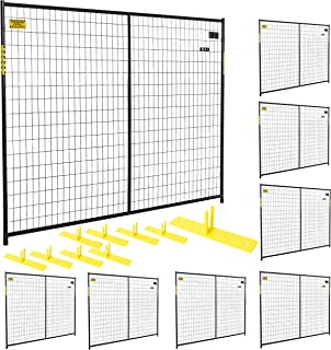 Perimeter Patrol Portable Security Fence 8 Panel Kit - Crowd Control and Safety Barrier for Protecting Property, Construction Sites, Outdoor Events. Black