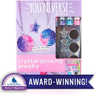 YouNiverse Crystal-Growing Jewelry by Horizon Group Usa, DIY Crystal Jewelry Making Kit, Pink Violet & Blue