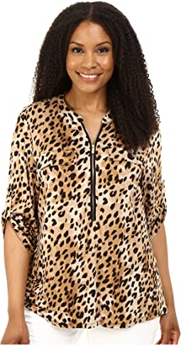 Calvin Klein Plus - Plus Size Print Zip Front Roll Sleeve Top