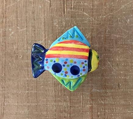 Fish Knob, Fish Drawer Pulls, Handmade Ceramic Nautical Knobs