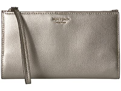 Kate Spade New York Sylvia Large Continental Wristlet (Pale Gold) Clutch Handbags
