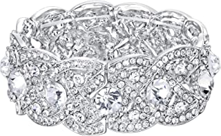 Austrian Crystal Wedding Art Deco Elastic Stretch Bracelet Clear
