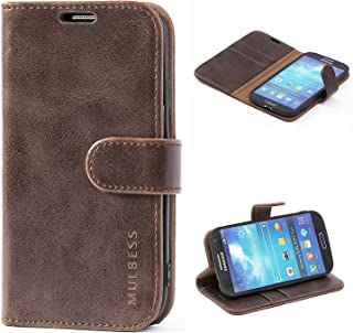 Mulbess Galaxy S4 Protective Cover, Magnetic Closure RFID Blocking Luxury Flip Folio Leather Wallet Phone Case with Card Slots and Kickstand for Samsung Galaxy S4, Coffee Brown