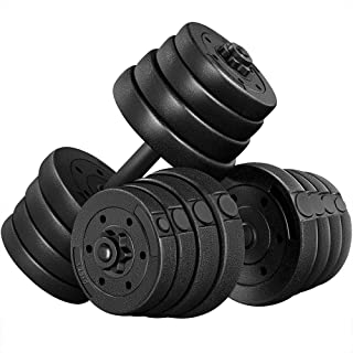 Yaheetech Adjustable Dumbbells Weight Set 66LB, Dumbbell Weights Exercise & Fitness Equipment w/ 4 Spinlock Collars & 2 Co...