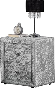 Unmatchable 2 Drawers Velvet Linen Fabric Bedside Table Nightstand Bedroom Night Table (Silver, Velvet)