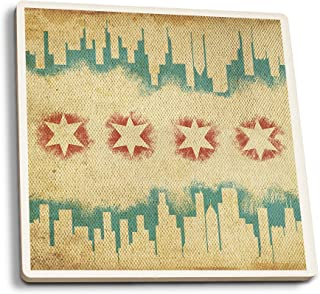 Lantern Press Chicago, Illinois - Flag and Skyline Tapestry (Set of 4 Ceramic Coasters - Cork-Backed, Absorbent)