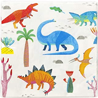 Talking Tables Dino Party Dinosaur 33Cm Napkin 20Pk, Multicolore