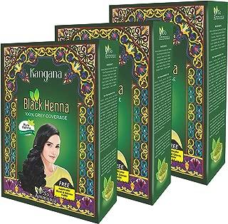 Kangana Black Henna Powder for 100% Grey Coverage - Natural Black Henna Powder for Hair Dye/Color- 6 Pouches Each - Total 180g (6.34 Oz)- Pack of 3