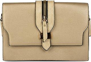 styleBREAKER Clutch Umhängetasche mit abgesetzter Schnalle und Reißverschluss Applikation am Deckel, Handtasche, Tasche, D...