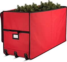 Super Rigid Rolling Christmas Tree Storage Box - Canvas Fabric with Cardboard Inserts - Opens Wide for Easy Input/Access, ...