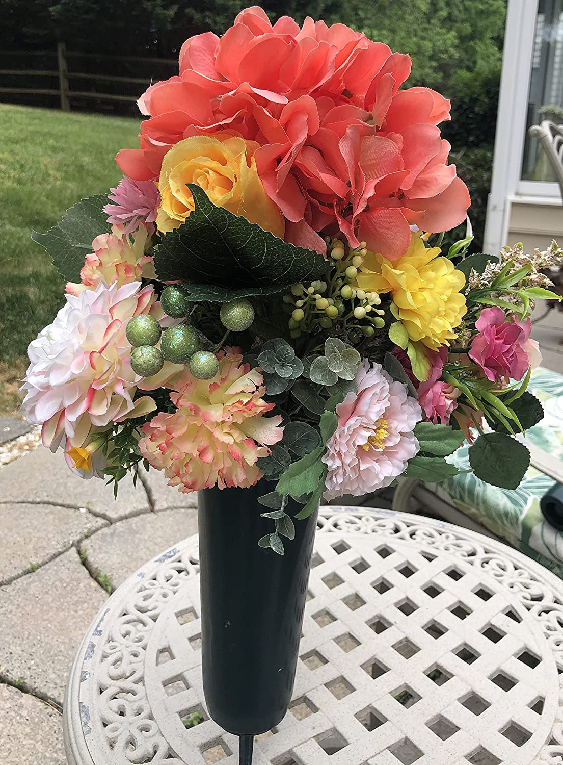 Cemetery Memorial Gravesite 35% OFF online shop Flowers Peach Pink and Yellow