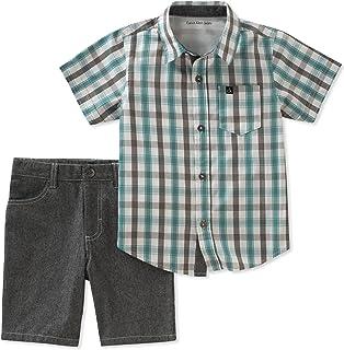 Calvin Klein Baby Boys 2 Pieces Shirt Shorts Set