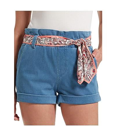 HUE Paperbag Waist Ultra Soft Denim High-Waist Shorts (Sail Blue Wash) Women