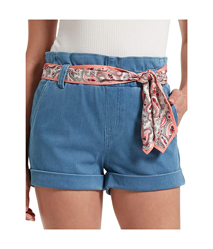 Vintage Shorts, Culottes,  Capris History HUE Paperbag Waist Ultra Soft Denim High-Waist Shorts Sail Blue Wash Womens Shorts $32.99 AT vintagedancer.com