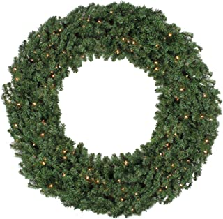 Northlight 5' Pre-Lit Commercial Canadian Pine Artificial Christmas Wreath - Clear Lights