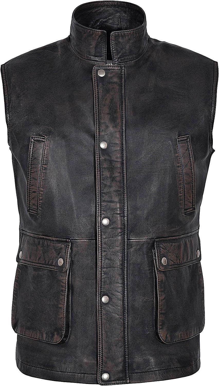 Men's Rouge Black Black Bronze Distressed Stylish Real Soft Napa Leather Waistcoats