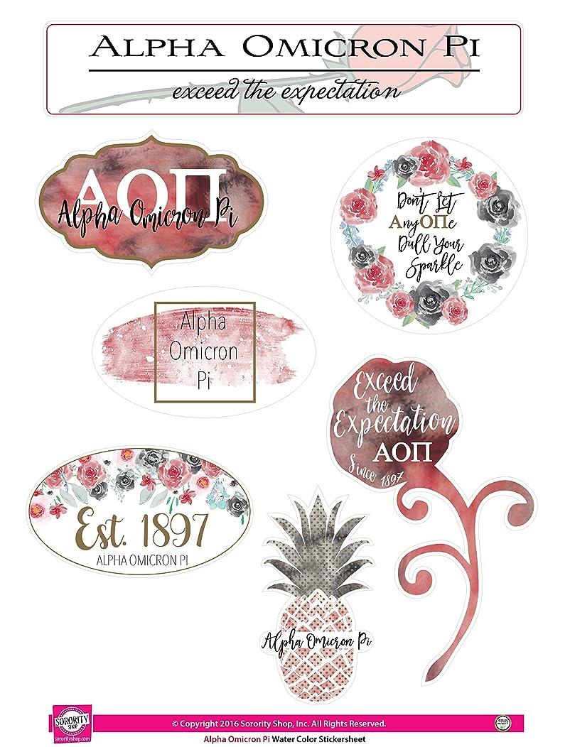 Alpha Omicron Pi - Sticker Sheet - Watercolor Theme