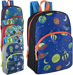 24 Packs of Wholesale Boys & Girls Character and Animal Backpacks with Adjustable, Padded Back Straps in Bulk Bundles (Boys)