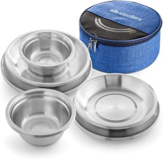 Wealers Stainless Steel Plates and Bowls Camping Set Small and Large Dinnerware for Kids, Adults, Family | Camping, Hikin...
