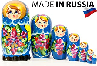 Russian Nesting Doll - Traditional POLKHOV MAIDAN - Hand Painted in Russia - Medium Size - Wooden Decoration Gift Doll - Matryoshka Babushka (Blue, 8``(7 Dolls in 1))