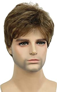 Lydell Men Wig Golden Brown Mix Short Straight Hair Synthetic Full Wigs 6 inches