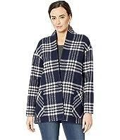 Collarless Plaid Coat