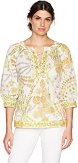 Trina Turk Women's Chirp Crescent Drive Print Lace Up Blouse