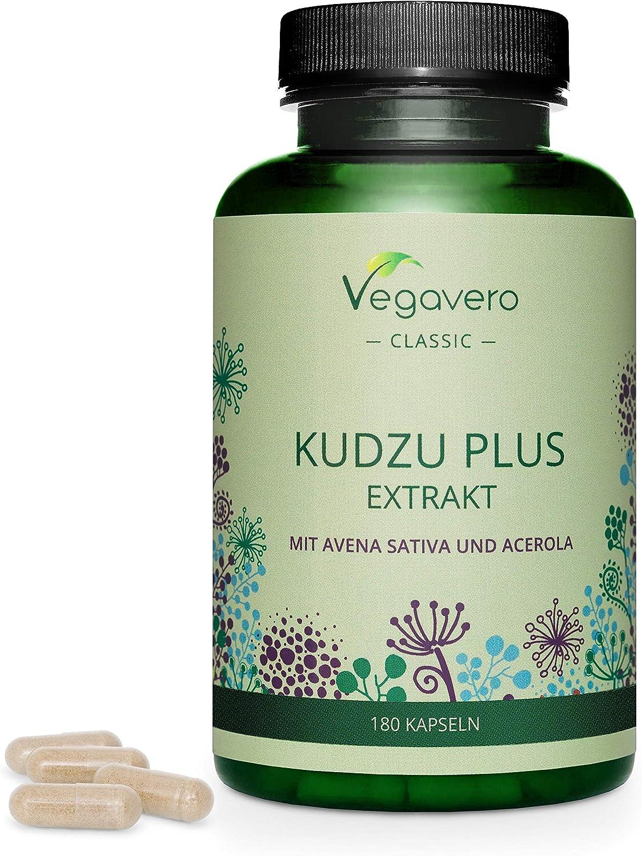 Kudzu Plus Vegavero® | Dejar de Fumar & Remedio Resaca | Kuzu Pueraria + Avena + Acerola | Sin Aditivos | Con Isoflavonas & Vitamina C Natural | 180 Cápsulas | Extracto Raíz Kudzu