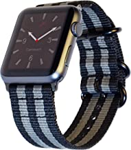Carterjett Compatible with Apple Watch Band XL 42mm 44mm Nylon iWatch Band XXL Replacement Strap Extra Large Long Adjustable Woven NATO Buckle for iWatch Series 5 Series 4 3 2 1 (42 44 XXL Gray/Black)
